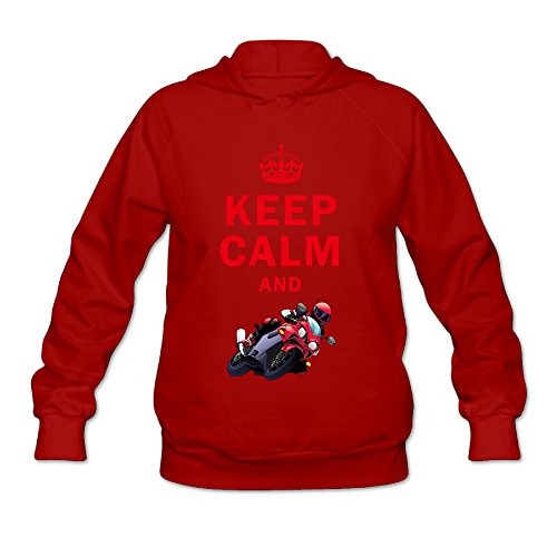 Women's Keep Calm And Play Motorcycle Racing Long Sleeve Hooded Sweatshirt Small Red