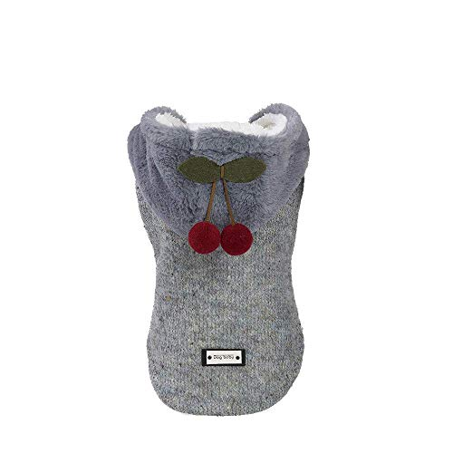 WAEEUSD Pet Autumn Winter Hooded Sweater Small Dog Cotton Coat with Hat Cute Little Cherry Pendant Sweatshirt