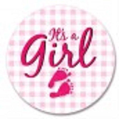 It's a Girl Birth Announcement Button