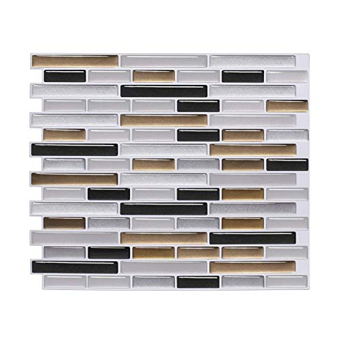 (FARONZE Kitchen Mosaic Wall Tiles Peel and Stick Self-Adhesive DIY Backsplash Stick-on Vinyl Wall Tiles for Kitchen and Bathroom (Silver Gold Black Mixed))