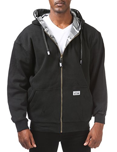 Pro Club Men's Full Zip Reversible Fleece and Thermal Hoodie, 5X-Large, Black/City Camo ()