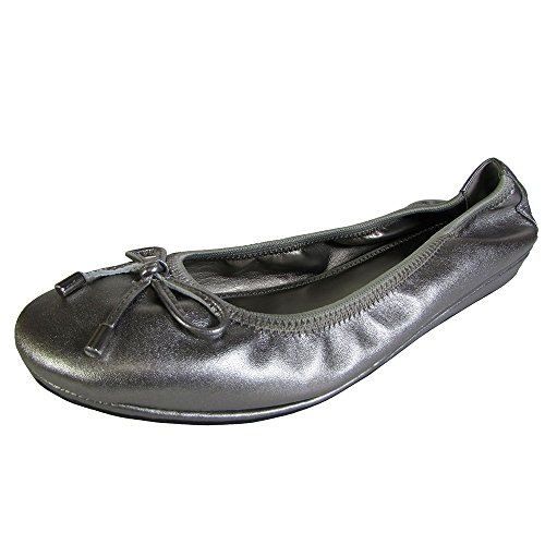 Me Too Womens Lilly Leather Ballet Flat Shoe, Pewter Metallic, US 6 (Leather Ballet Flats Metallic)