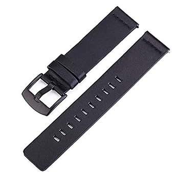 Niome Leather Watchband Watch Straps Fit for Sumsung Gear 3 Watch Quartz Sport Watches Wristwatch Accessories,Black 18mm