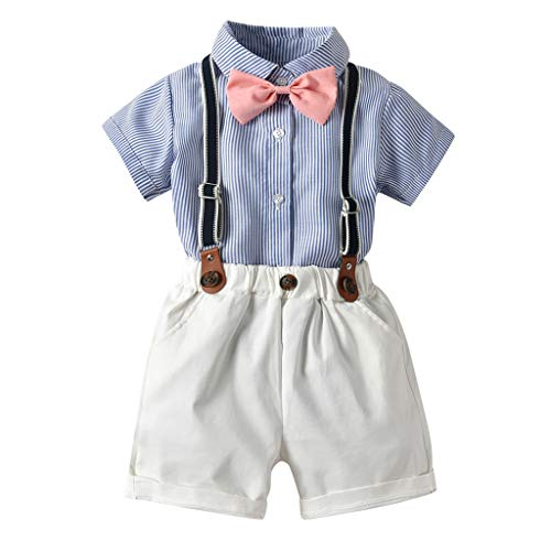 - Trule Toddler Handsome Well-Favored Baby Boy Gentleman Suits Short Sleeve Shirt Suspender Shorts Outfit Sets White