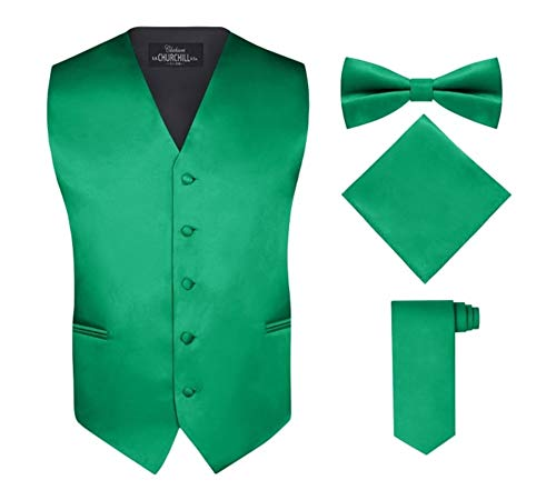 S.H. Churchill & Co. Men's 4 Piece Vest Set, with Bow Tie, Neck Tie & Pocket Hankie - Kelly Green, M