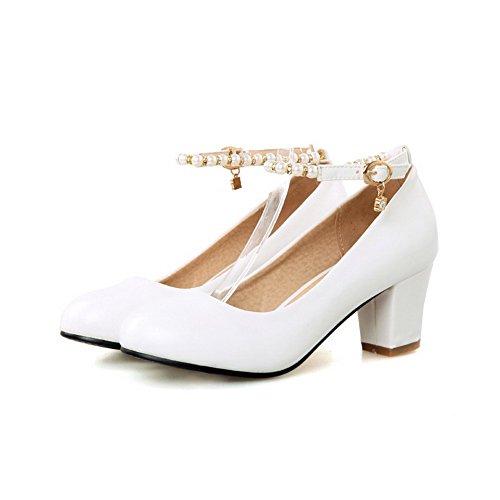 VogueZone009 Damen Rund Zehe Mittler Absatz Weiches Material Rein Schnalle Pumps Schuhe Weiß