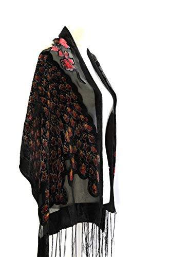 1b409386f Amazon.com: Handmade Gorgeous Black/Burgundy Colors Peacock Silk Burnout  Velvet Soft Scarf Shawl: Home & Kitchen