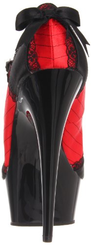 Pleaser Women's Delight-679 Platform Pump Red/Black Satin/Black ZMerP