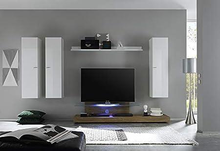 Kasalinea Anita - Mueble para televisor (Lacado y Roble, con iluminación LED, opción contemporánea), Blanco, L 309 x P 50 x H 180 cm: Amazon.es: Hogar