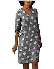 Women's Vintage Ethnic Style Printed Tassel V Neck Loose Fit Bohemian Tunic Dress Retro Beach Boho Dress