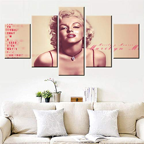 House Decoration Living Room Marilyn Monroe Pictures Blonde Girl Paintings Sexy Red Lip Wall Art 5 Piece Canvas Paintings Premium Quality Artwork Framed Ready to Hang Posters and ()