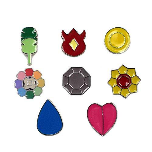 Pocket Monster Generation 1 Kanto Region Gym Badge Collection Box Set of 8PCS, Gift for Boy and Girls (Best Generation 5 Pokemon)