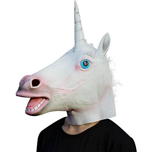 Creepy Party Deluxe Novelty Halloween Costume Party Latex Animal Head Mask, Unicorn