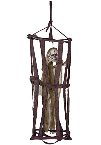 Skeleton Hanging Decoration - Halloween Caged Floating Phantom Party Decor and Prop, Ideal for Horror Themed Parties, Haunted House, Indoor Outdoor Display, 12 x 15.75 x 39 Inches ()
