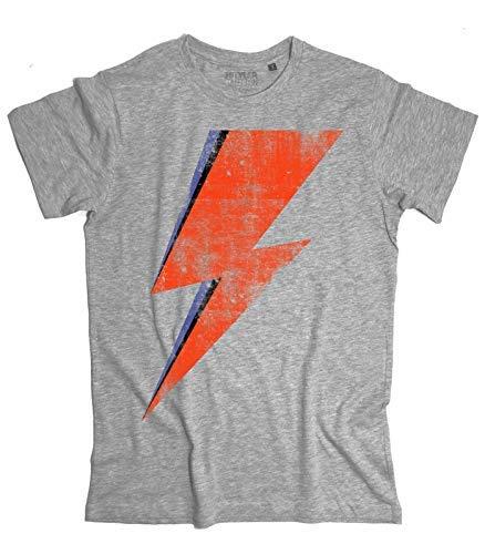 T Saetta Mèlange Uomo Bowie Ziggy Rossa Ispirata Stardust Vintage David A 3stylercollection shirt Grigio 1xqn5qR