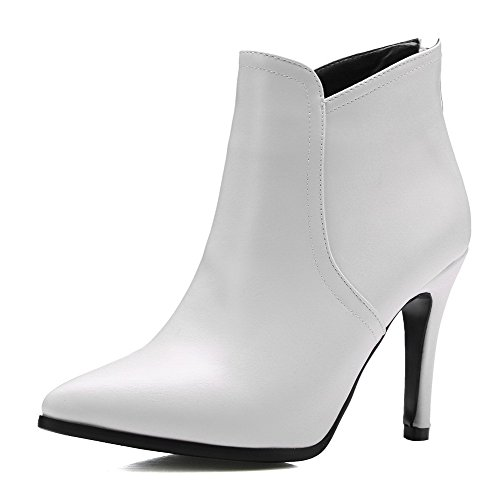 AllhqFashion Womens Zipper Pointed Closed Toe Spikes Stilettos Ankle High Boots, White, 36