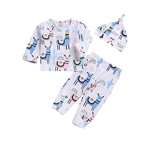 Baby Girls Boys Clothes Newborn Baby Girl Boy Animal Print Romper Infant Alpaca Bodysuit Cactus Jumpsuit Long Sleeve Outfit (Baby Alapaca Pant Set, 70(0-6 Months))