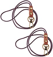 2Pieces Durable Leather Lanyard Neck Wrist Strap ID Card Badge Phone Key Holder 49cm