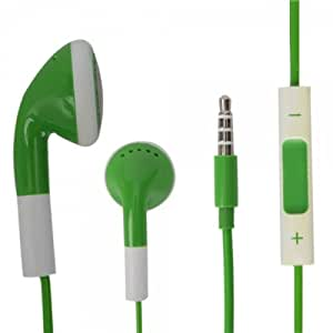 Green 3.5mm Stereo Fashion Earphone Headsets with Volume Control & Microphone for Samsung SGH-I717 (By Things Needed)