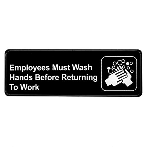 Alpine Industries Employees Must Wash Hands Before Returning to Work Sign - Self Adhesive Black Plastic Employee Hand Washing Wall/Door Sign for Restaurants & Businesses
