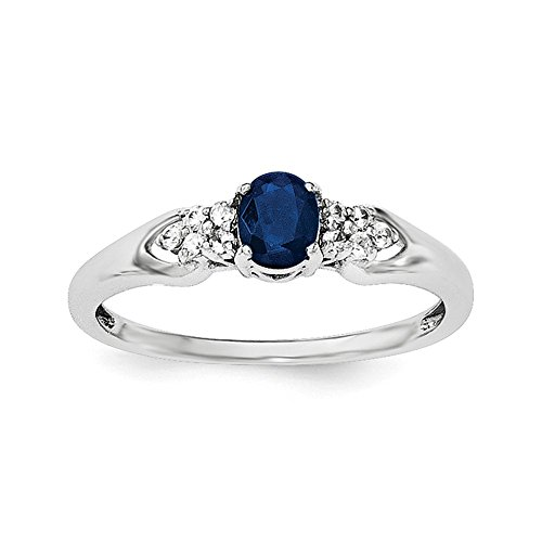Sterling Silver Blue and White Sapphire Ring - Size 6 ()