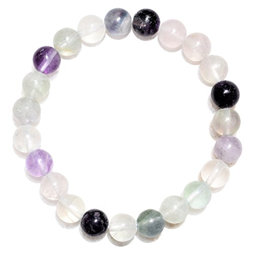 CHARGED Premium 7 Rainbow Fluorite Crystal 8mm Bead Bracelet Stretchy (Increase Clarity & Focus, Remove Energy Blocks & Cleanse Your Aura) [REIKI] by ZENERGY GEMS