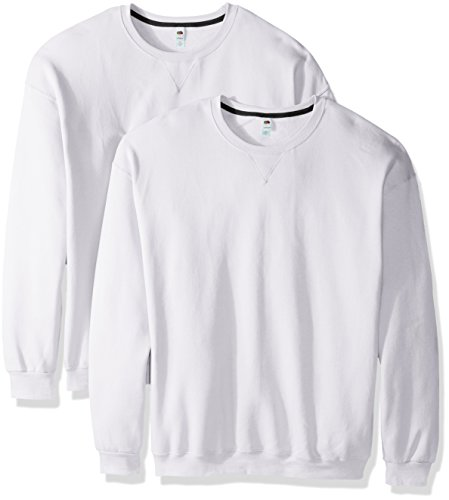 Fruit of the Loom Men's Crew Sweatshirt (2 Pack), White, Large ()