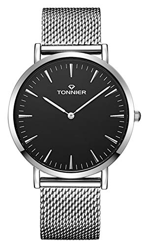 Tonnier White Stainless Steel Slim Mesh Strap Men Watch Quartz Watch Black Face (Stainless Steel Watch Black Face)