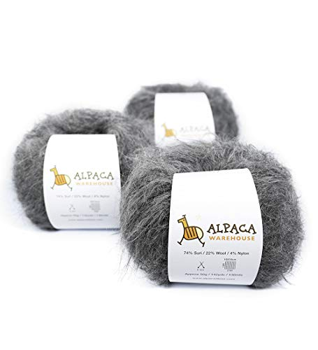 a Yarn Wool Set of 3 Skeins Sport Weight (Gray) ()