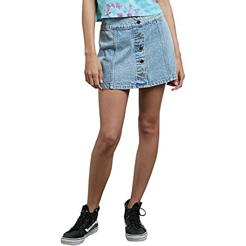 Volcom Junior's Georgia May Jagger Demim Mini Skirt, Chlorine, M