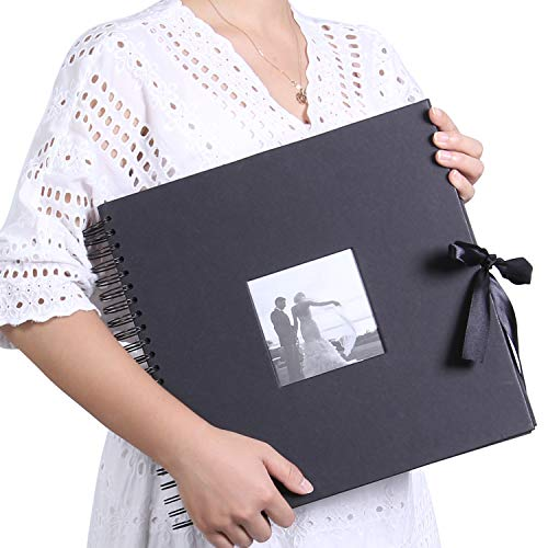 12x12 Inch DIY Scrapbook Photo Album with Cover Photo Pocket 80 Pages Silk Ribbon Album Craft Paper Album for Guest Book, Anniversary, (Black) ...