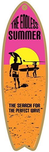 """The Endless Summer - The search for the perfect wave (pink, yellow, orange) 5"""" x 16"""" Surfboard Wood Plaque Sign (SJT74701)"""