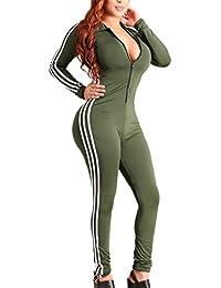 Women Sexy Long Sleeve Zipper Sport Fitness Bodycon Jumpsuit Romper