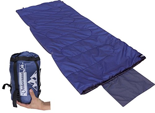 OutdoorsmanLab Sleeping Bag (50 - 70F) Lightweight For Camping, Backpacking, Travel- Warm Weather Ultralight Compact Packable bag with Compression Sack, Pillow case, Pockets For Kids Men Women (Portable Sleeping Bag compare prices)