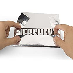 "Hershey's Chocolate Bar ""SILVER"" Foil Wrapper , 6"" X 7.5"" , for Over Wrap the Bar, Pack of 100"