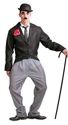 Mens 1920s Actor Charlie Chaplin Celebrity Film Star Fancy Dress Costume Large (Large) Black ()