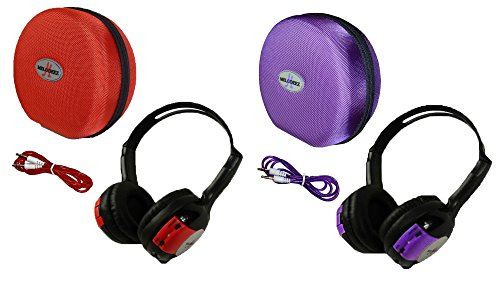 2 Pack Kid Sized Wireless Infrared Universal Car DVD IR Automotive Colored Adjustable 2 Channel Headphones With Case and 3.5mm Auxiliary Cord