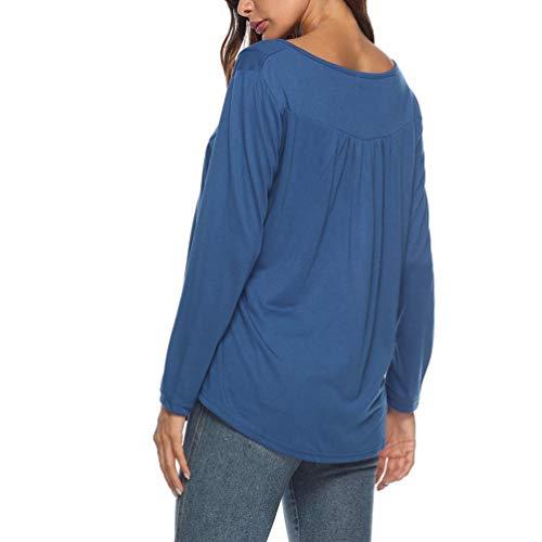 Tee Row Shirt Tunique Yiiquanan Solides Plis Clair Bleu Bouton Tops Longues Femmes Manches Blouse Casual PW4Aqg