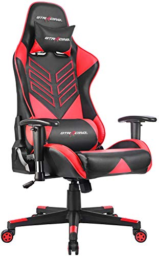 GTRACING Racing Chair Gaming Office Chair High-Back PU Leather Swivel Computer Chair Managerial and Executive Chair with Headrest and Lumbar Support Red For Sale