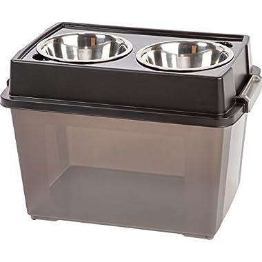 IRIS Large Elevated Feeder with Airtight Food Storage, 2 2-Quart Bowls, Black