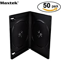 Maxtek 14mm Black Standard Double Capacity DVD Case and Outter Clear Sleeve, 50 pieces pack