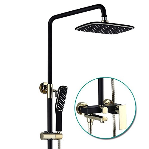 NewBorn Faucet Water Taps Hot And Cold Water The Copper Bathroom Paint Full Copper Shower Water Tap Hand Shower Set In The Wall Black gold Lift, Hand Held Shower Shower System