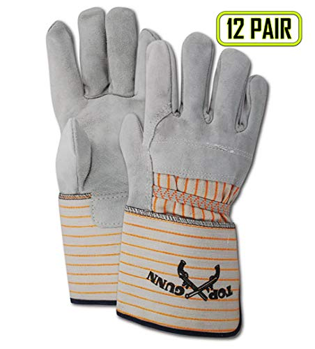 Magid Glove & Safety TG628E Magid Top Gunn Select Cow Split Leather Palm-Rubberized Cuff, Large, Gray, Large (Pack of 12)