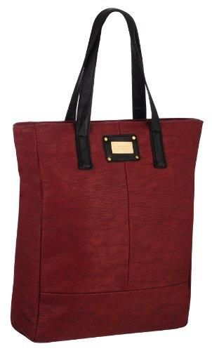 EyeCatchBags - Maribel Damen Kunstleder-Tasche Handtasche Schultertasche Dark Burgundy