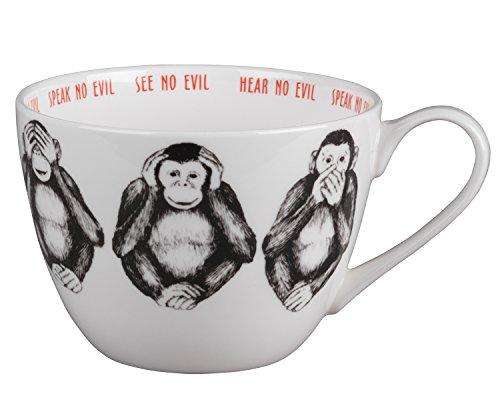 (Portobello CM04804 Wilmslow Three Wise Monkeys Mug, Bone China, Multi-Colour by Portobello)