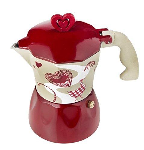 BRANDANI UFFICIALE CAFFETTIERA MOKA CUORE ROSSO BIANCA LOVE ROMANTIC EXPRESS 3 TAZZE ALLUMINIO 55594 Brandani_55594
