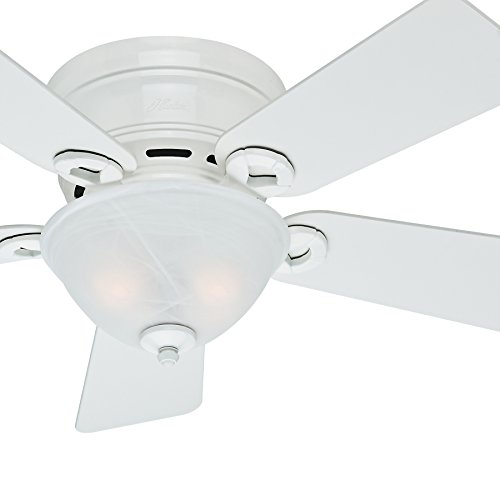 Hunter Fan 42 inch Low Profile Ceiling Fan in Snow White with Light Kit, 5 Blade Renewed Snow White