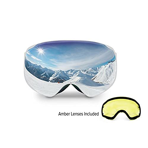 Spherion Gear Ski Goggles + Detachable Amber Lens (Sky blue)  sc 1 st  Amazon.com & Ski Goggles Low Light: Amazon.com