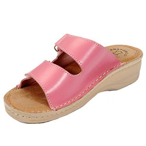 Dr Zapatos Punto Zuecos Zapatillas Mujer Cuero de D54 Claro Rosso BRIL para Sandalias Rosa rqpYrZw