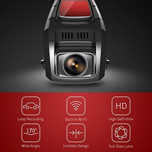 Pruveeo F5 FHD 1080P Dash Cam, Cámara de tablero de diseño discreto para automóviles, 170 gran angular